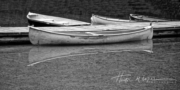 Canoe Reflection BW